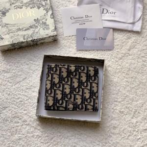 DIOR官网迪奥奢侈品代购Oblique 印花两折短款钱包2OBBH027