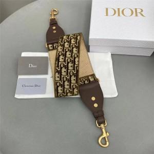 DIOR迪奥官网法国奢侈品牌新款棕色天鹅绒 Oblique 印花肩带S8540