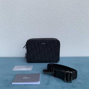 DIOR迪奥官网奢侈品折扣网站黑色老花Oblique手拿包相机包2OBBC119