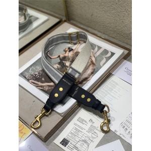 """迪奥中国官网代购灰色""""Christian Dior""""刺绣可调节肩带S8543"""