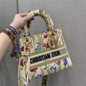 DIOR迪奥官网全球奢侈品Hibiscus 刺绣帆布中号 LADY D-LITE 手袋