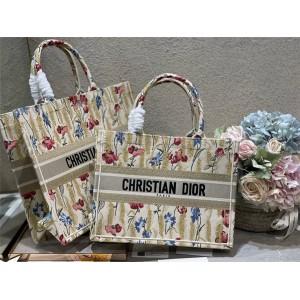 DIOR迪奥京东奢侈品网站Hibiscus 刺绣帆布BOOK TOTE 手袋购物袋