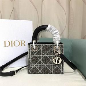 迪奥香港官网正品新款满钻格子珠绣MINI Lady Dior迷你戴妃包
