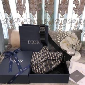 Dior/迪奥中文官网男包Saddle Dior Oblique帆布胸包马鞍包1ADPO093