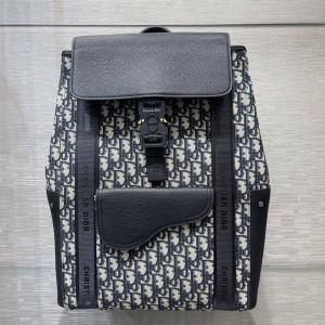 迪奥dior官网正品Oblique老花拼皮马鞍双肩背包1ADBA143