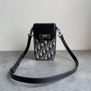 DIOR圣迪奥折扣店官网Oblique老花拼皮竖版手拿包手机包2LXCA345