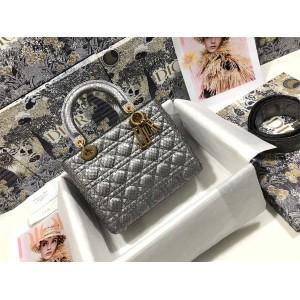迪奥中文官网正品代购Lady Dior 五格蟒蛇皮戴妃包M0575
