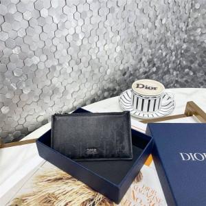 DIOR迪奥官网正品Oblique Galaxy 镂空打孔真皮拉链卡套卡包2ESBC250