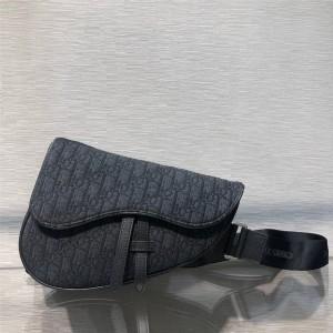 迪奥dior官网男包新款黑色老花SADDLE OBLIQUE手袋腰包胸包