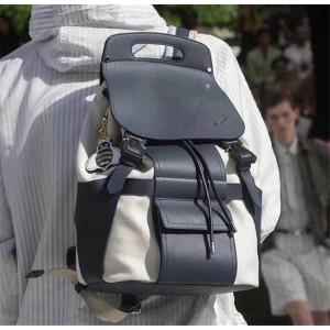 DIOR迪奥官网男士背包新款Homme帆布拼皮双肩包书包