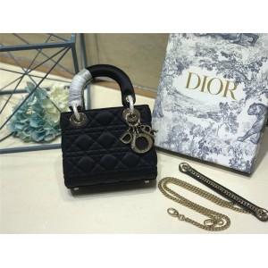 Dior/迪奥官网包包新款水晶扣缎面三格/四格戴妃包