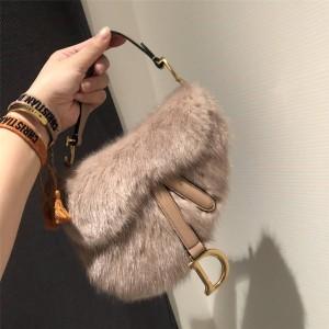 Dior/迪奥官网代购女包新款Saddle貂毛马鞍包