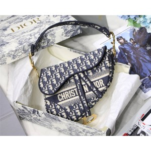 Dior/迪奥官网包包新款Saddle Oblique 刺绣帆布马鞍包M0446