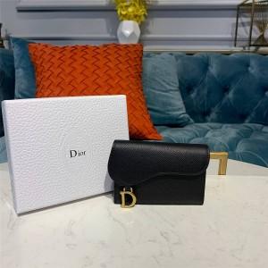 Dior/迪奥官网女士短款钱包新款Saddle牛皮卡包S5611